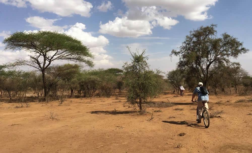 Mountain biking in the bush at Longido